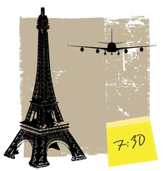 Eiffel tower and plane vector