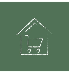 House shopping icon drawn in chalk vector