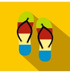 Summer slippers for beach icon flat style vector