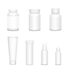 Medicine blank white bottles set for sprays and vector