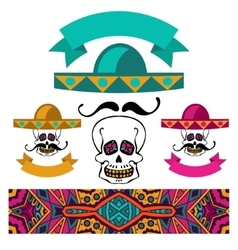 Abstract ethnic festive mexican symbol set vector