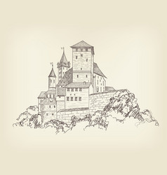 ancient castle landscape engraving tower building vector image