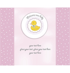 Baby shower card with little duck vector