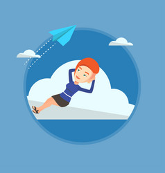 business woman lying on cloud vector image