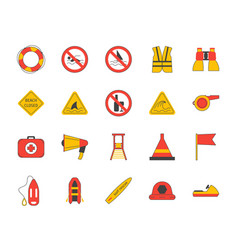 cartoon lifeguard signs outline color icons set vector image