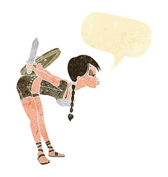 Cartoon viking girl bowing with speech bubble vector