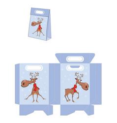 christmas deer handbags packages pattern vector image vector image