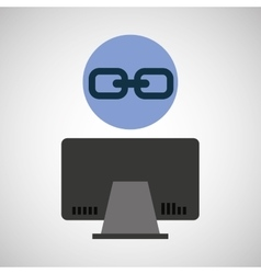 computer device link network icon vector image vector image