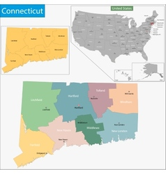 Connecticut map vector