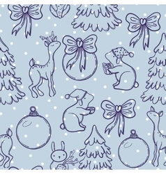 Cute christmas seamless pattern with animals deer vector