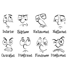 eight different emotions of human being vector image vector image