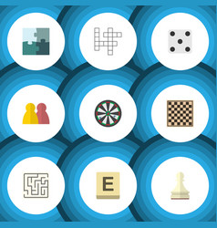 flat icon play set of pawn labyrinth jigsaw and vector image