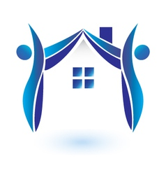 House and figures logo vector image