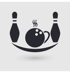 Icon bowling Cafeteria cafe catering place vector image