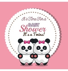 Invitation twins girl panda baby shower card vector