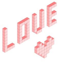 Love in 3D pink isometric blocks vector image