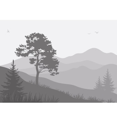 Mountain landscape with trees and birds vector image