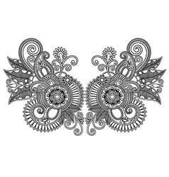 Ornamental floral neckline embroidery fashion vector