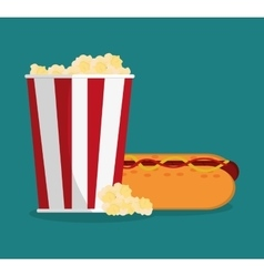 Pop corn and hot dog of carnival design vector