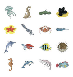Sea animals set icons in cartoon style big vector