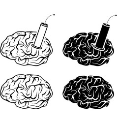 set of brains and tnt vector image vector image