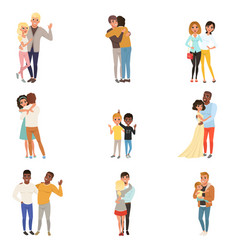 Set of hugging people in different poses sisters vector