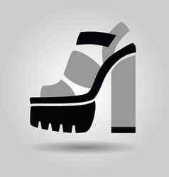 Single women platform solid high heel shoe icon vector