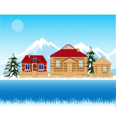 Village beside river in winter vector