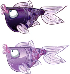 violet two Fishes vector image vector image