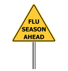 Yellow warning sign caution - flu shots ahead vector