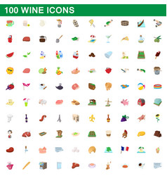 100 wine icons set cartoon style vector image