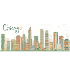 Abstract chicago skyline with color buildings vector
