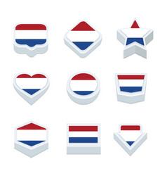 netherlands flags icons and button set nine styles vector image