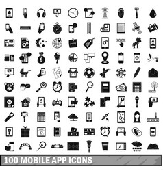 100 mobile app icons set simple style vector image