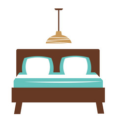Double bed with two blue and white pillows vector