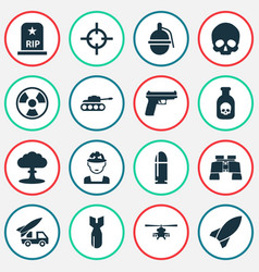 Warfare icons set collection of military danger vector