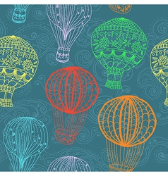 Hot air balloon in sky seamless background vector