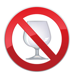 No alcohol drink sign prohibition icon ban liquor vector