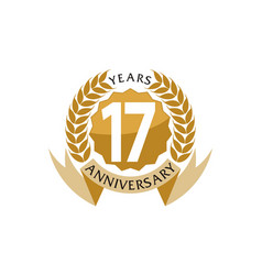 17 years ribbon anniversary vector image