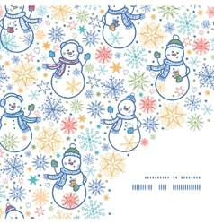 Cute snowmen frame corner pattern background vector