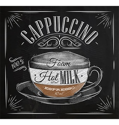 Poster cappuccino chalk vector