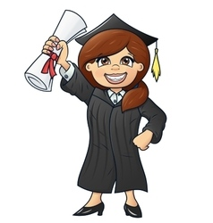 Student holding her diploma 2 vector