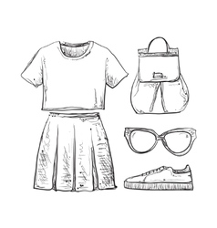 Summer doodles clothes vector