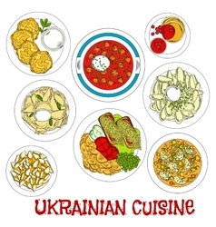 Sketched ukrainian meatless dishes for lent icon vector