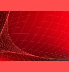 Abstract red background with network curve lines vector