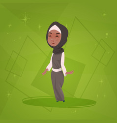 Arab girl small cartoon character muslim female vector