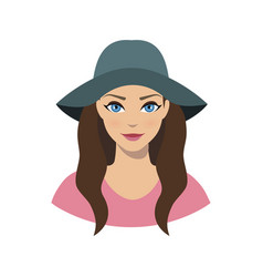 Avatar icon of girl in a wide brim felt hat vector