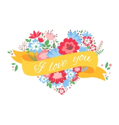 Beautiful floral heart shaped postcard vector image
