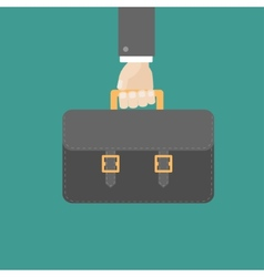 Businessman han holding black briefcase flat vector