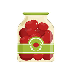 cartoon glass jar of red marinated tomatoes bank vector image
